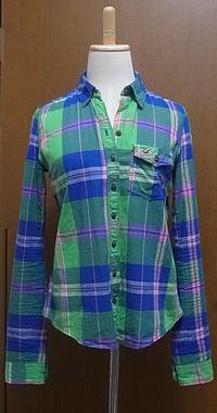 グリーンブルーマドラスチェックシャツ