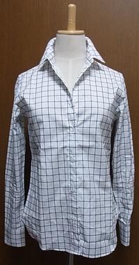 ネイビー格子ホワイトコットンシャツ
